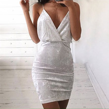 package hip Female Bodycon Dress Women Sexy Bodycon Velvet Dress V Neck Sleeveless Mini Night Club Wear Clothing red/white color