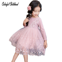 Autumn Flowers Lace Girls Dress Princess Girls Clothing kids Party Birthday Dresses Girl Costume Kids knitted long sleeve dress(China)