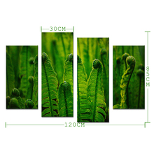 4pcs Close Look At The Green Plants Wall Painting Print On Canvas For Home Decor Ideas Paints On Wall Pictures Art No Framed