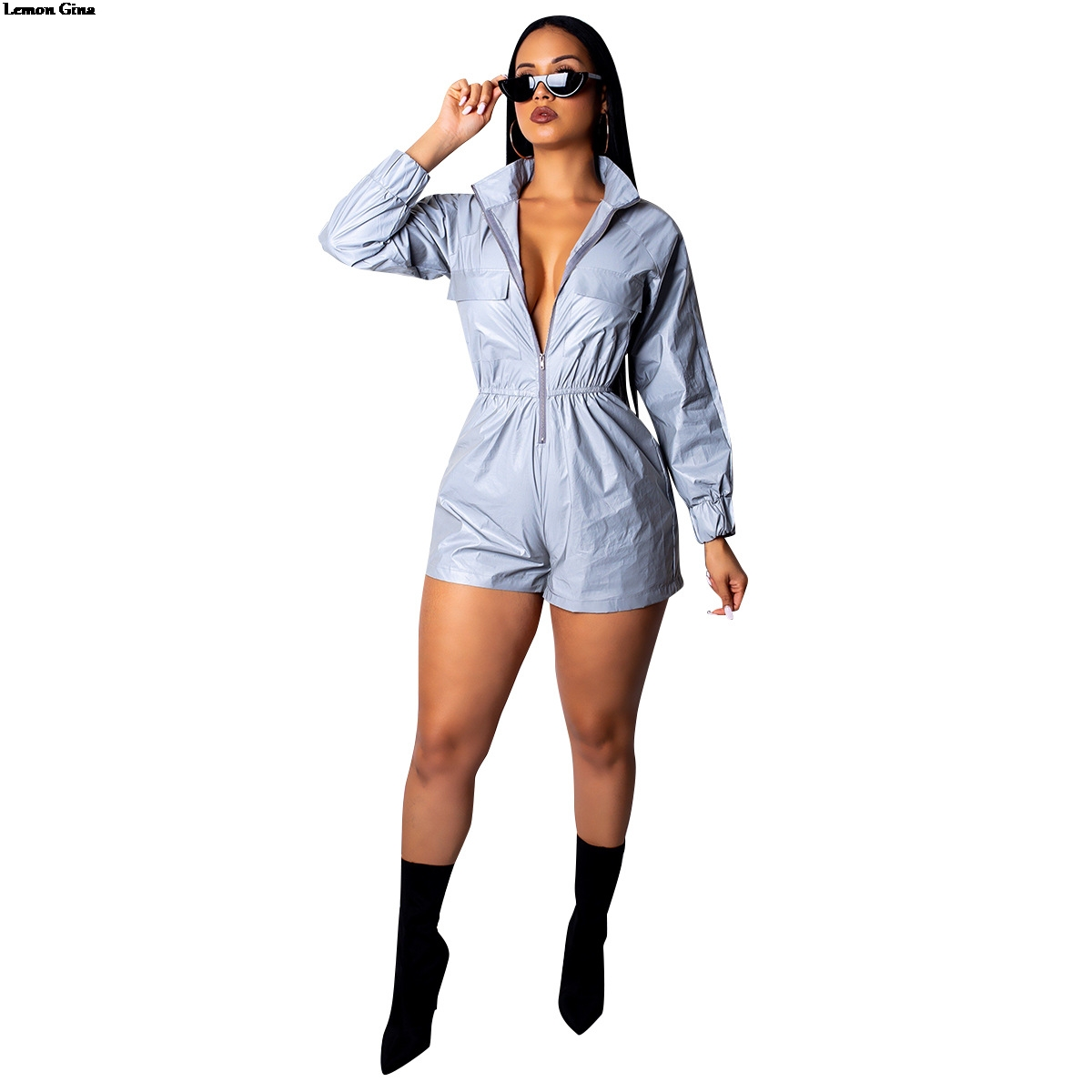 Lemon Gina 2019 summer moto biker reflective zipper up women jumpsuit casual long sleeve playsuit vintage romper outfit ALS077