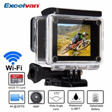 Sport Action Camera Q6H 4K 16M 173 Lens WIFI Suport 64GB Max 30M Waterproof Camcorder Gopro Hero 4 Style Sport Camera