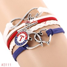 MLB Infinity Love Texas Rangers Baseball Team Bracelet 2016 New Arrival Leather Bracelet Fans Jewelry 6Pcs/Lot ! Free Shipping!