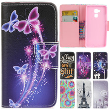 Luxury Cute Cartoon Dream Butterfly Leather Flip Fundas Case For Huawei Honor 5X GR5 5C / Honor 5A Y6ii Y6 ii Y611 Y6 2 Cover
