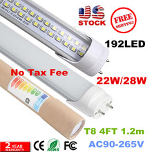 FEDEX SHIP LED T8 Tube 4FT 28W 2835 G13 FA8192 LEDS Light Lamp Bulb 4 feet 1.2m Double row 85-265V led lighting fluorescent(China)