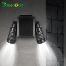 Solar PIR Motion Sensor Light 14 LED Spotlight Dual Head Rotate 360 Wall Mounted Security Light for Outdoor Garden Yard Walkway(China)