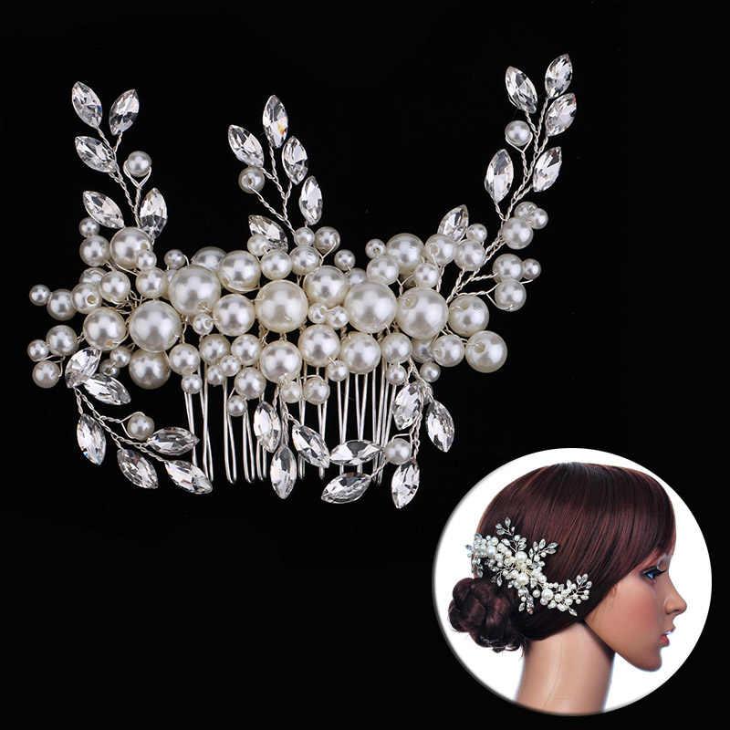 59c056b80662 Свадебные аксессуары для волос Noiva Жемчужный Цветок гребень Диадемы  Корона принцесса женская заколка для волос украшения