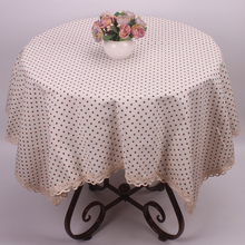 Coffee / Pink / Blue Polka Dot White Cotton Linen Table Cloths for Home Decoration Rough Table Covers for Restaurant Hotel
