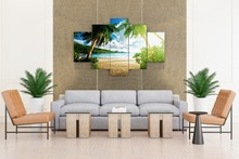 beach palm tree Group Painting children's room decor print poster picture canvas Free shipping frames wall art
