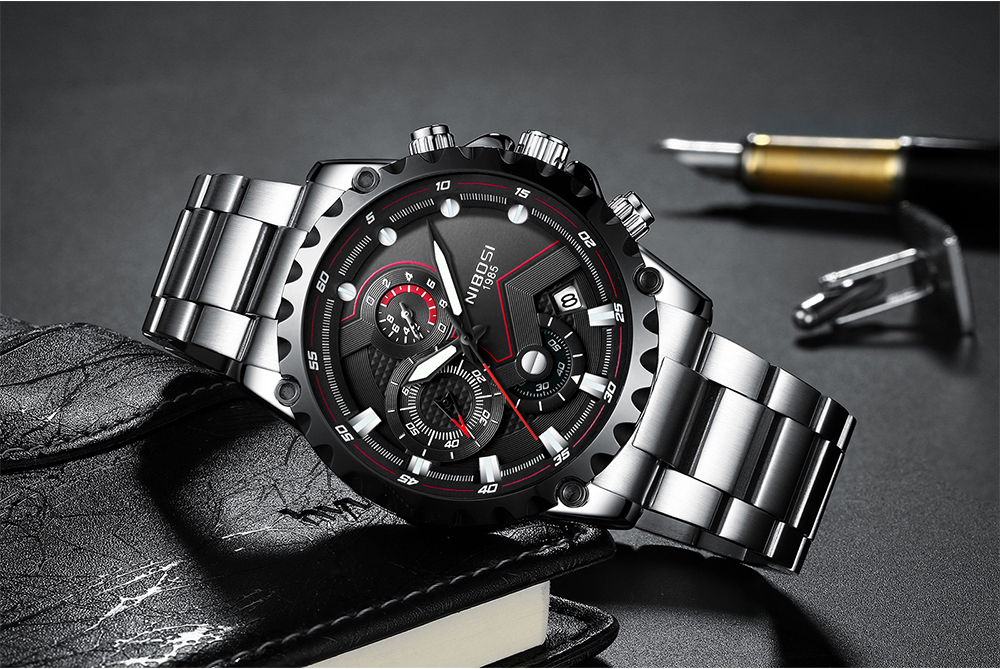 Military Watches Men Quartz Analog Men Watches Stainless Steel Time Date Clock Men Luxury Brand Hot Famous Brand Watches NIBOSI  (12)