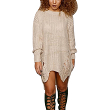 Black White Beige Red Sweater Dress Women O-Neck Long Sleeve Knitted Winter Dress 2017 Hollow Out Irregular Punk Party Dresses