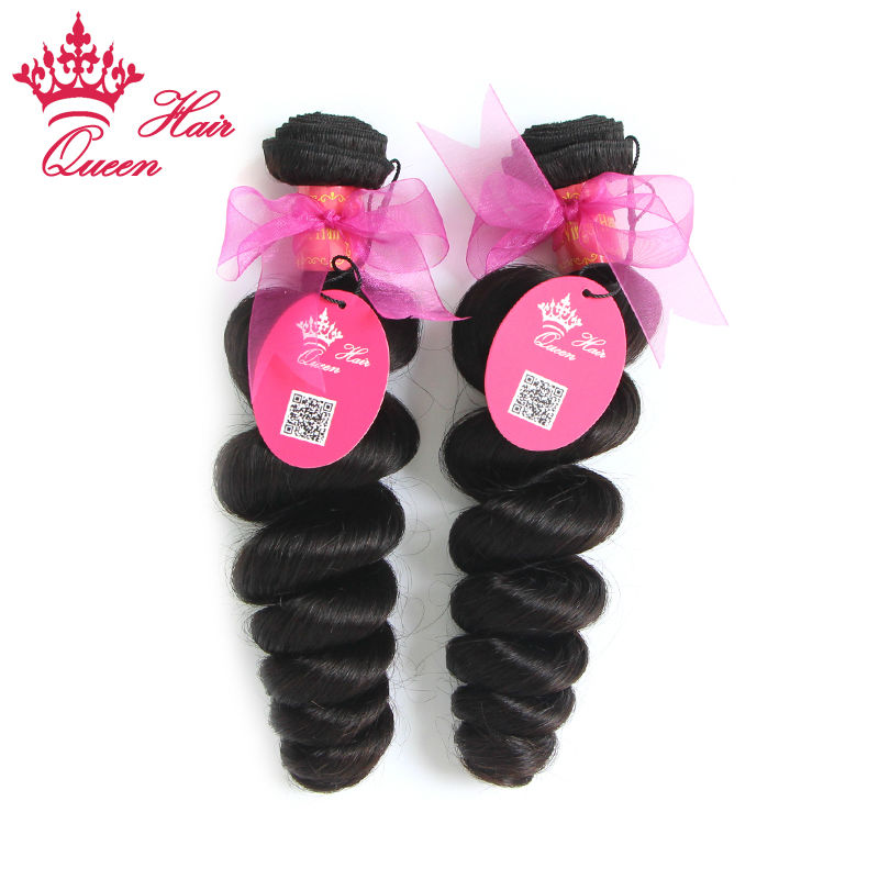 Queen Hair Products Mix Length 2pcs/lot 12-28 Brazilian Virgin Hair Extension Loose Wave #1B Strong Double weft Free Shipping<br><br>Aliexpress