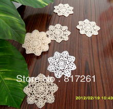 Free shipping 12 pics/lot cotton crochet lace doilies star coaster for home decor table mat as cup pads tableware accessories