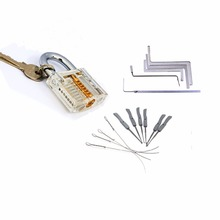 Locksmith Tools Kit 3 In 1 Set Transparent Lock ,5pcs Locksmith Wrench Tools,10pcs Locksmith Broken Key Extractor Tools(China)