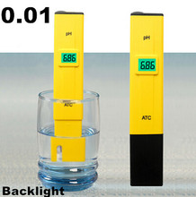 10PCS ATC PH meter swimming pool water ph test pen accuracy 0.01 / green backlight / temperature compensation function