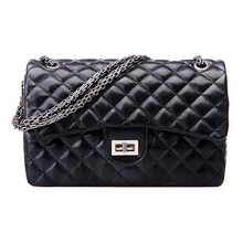 TEXU Designer Quilted Chain Faux Leather Shoulder Hand Bag Cross Body Handbag Purse Black