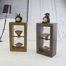 New Totoro Resin Craft 10 Minutes glass sand timer Hourglass Wood Frame Square Hourglass Clock sand glass Home Decoration Gift