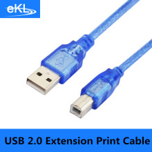 USB 2.0 Extension Print Cable 30CM 1.5M 3M 5M 10M OHFC Copper Transparent Blue Wholesale Extended USB Cable for Printer HDD