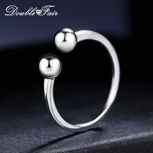 Double Fair 100% 925 Sterling Silver Rings Simple Smooth Design S925 Adjustable Round Balls Ring For Women Wedding Party DFRY047