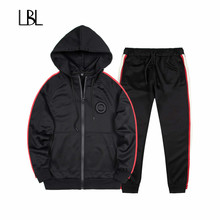 Spring Autumn Sporting Suit Warm Hooded Tracksuit Men Polo Hoodies+Pant Sweatsuit Men Joggers Set Two Piece Set 2018 Fashion(China)