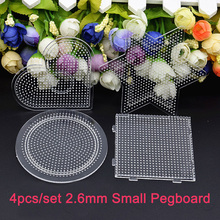 4pcs/set 2.6mm Hama Beads Pegboard Jigsaw Puzzle Perler Beads Diy Transparent Shape Puzzle Template(China)