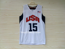 #15 Carmelo Anthony Olympics Dream Team USA Throwback Basketball Jersey US Size S-XXL(China)