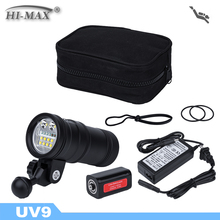 5200lm scuba diving flashlight 100m waterfpoor UV/RED led dive torch light spot dive light rechargeable battery pack