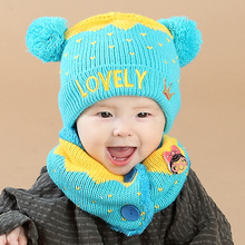 Baby Hat Autumn Winter New Arrival Newborn Hats for Girls Toddler Infant Cartoon Love Crown Hat + Ring Scarf Warm Knitted Caps(China)