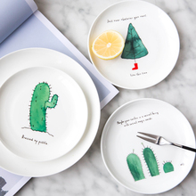 1PC Chrristmas Dinner Plate Ceramic Cactus Dinner Dishes Dessert Plates Fine Bone China Household Kitchenware 6/8 inch(China)