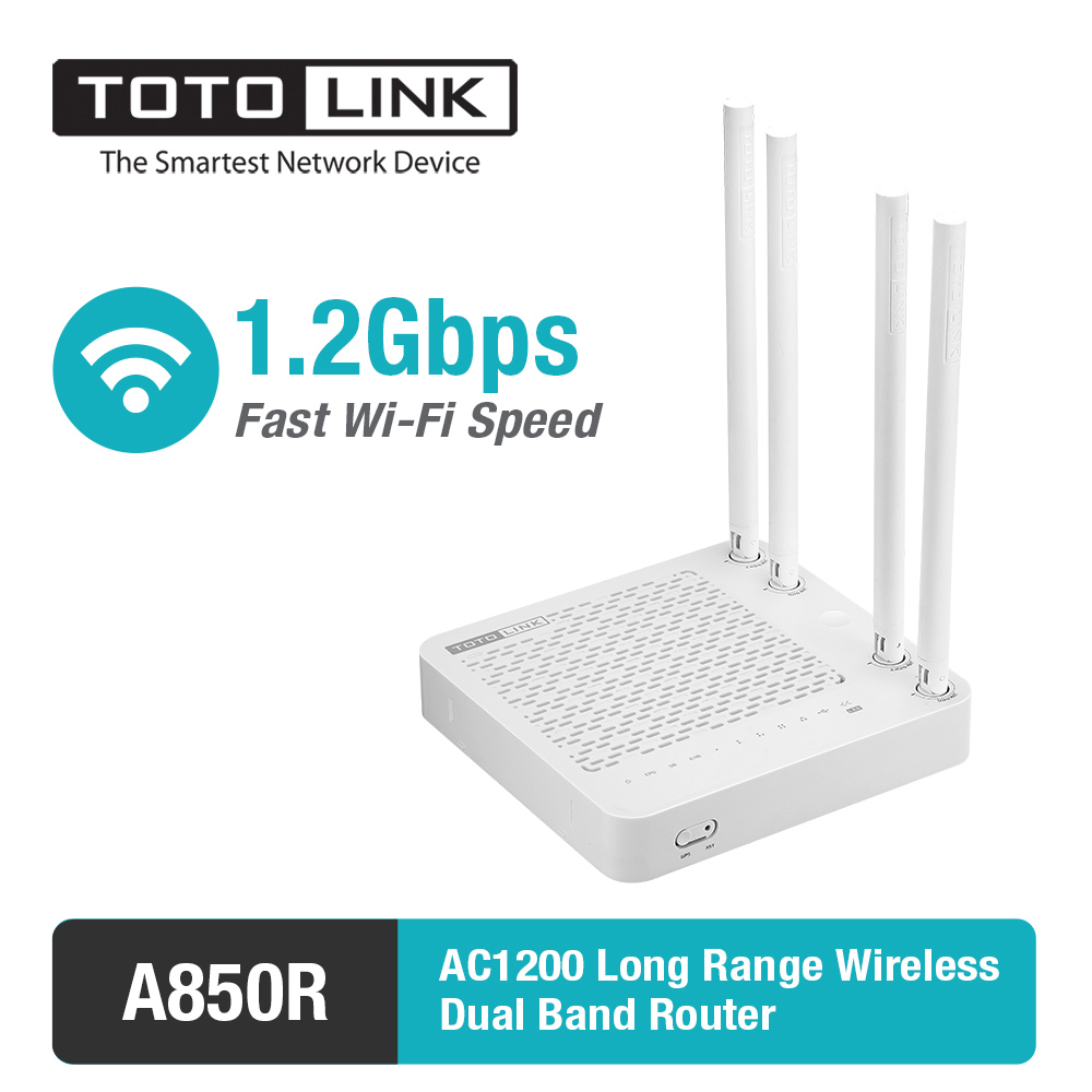 TOTOLINK A850R AC1200Mbps Dual Band High Power WiFi Router &amp; WiFi Repeater &amp; Access Point, with English Firmware<br>