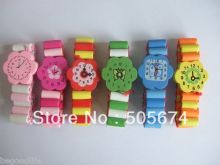 CHILDREN WOODEN PLAY WATCH WOOD BRACELET PARTY BAG TOYS