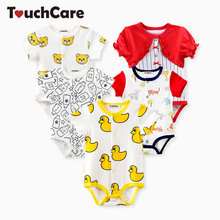 Touchcare Little Yellow Duck Baby Clothes Newborn Baby Boy Girl Rompers Milk Bottle Pattern Summer Infant Jumpsuit