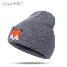 SUPERB&G Warm Winter Hat For Women Knitted Womens Caps Girls Fox Pattern Hats Female Fashion Caps Ladies Knit Cap  Skullies