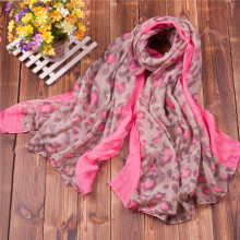 2015 Women Leopard Printed Scarf Hot Pink Leopard Cotton Voile Shawls Wraps Hijabs 5PCS/lot FREE SHIPPING