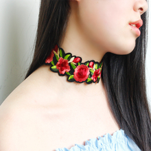 Punk Charm Girl Embroidered Floral Rose Flower Chocker Necklace BOHO Sexy Rose Tattoo Collar Necklace Valentine's Day Gift