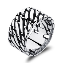 Women Men Fashion Cool Carved Stainless Steel Silver Color Thumb Ring Jewelry Gift