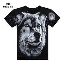 2016 Fashion Wolf Pattern Printed Casual Men T-shirt Black Young Fashion Funny T shirts Cotton Men Clothing S-XXXL,YK UNCLE