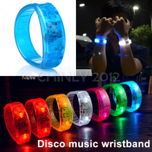 100pcs Music Activated Sound Control Led Flashing Bracelet Light Up Bangle Wristband Night Club Activity Party Bar Disco Cheer