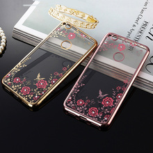 For Huawei P9 lite 2017 Case 5.2 inch Bling Flowers Rhinestone Diamond Cell Phone Cover Plating Cases For Huawei P9 Lite 2017(China)