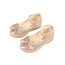 Girl Leather Shoes Girls Children 2017 New Fashion Party Princess Dress For Leather Wedding Bow Children Shoes Girls(China)