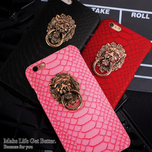 Luxury 3D lion head metal Ring holder Stand phone case Snake Lizard Texture Leather Hard Cover Case For iphone SE 6 6S Plus 5 5S
