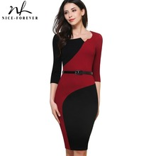 Nice-forever Vintage Mature Classic Work Patchwork Contrast Color 3/4 Sleeve O-Neck Tunic Bodycon Women Office Pencil Dress B358(China)