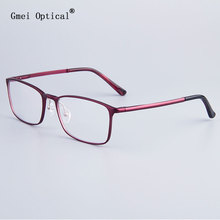 Fashion Full-Rim Eyeglasses Frame Brand Designer Business Men Frame Hydronalium Glasses With Spring Hinge On Legs(China)