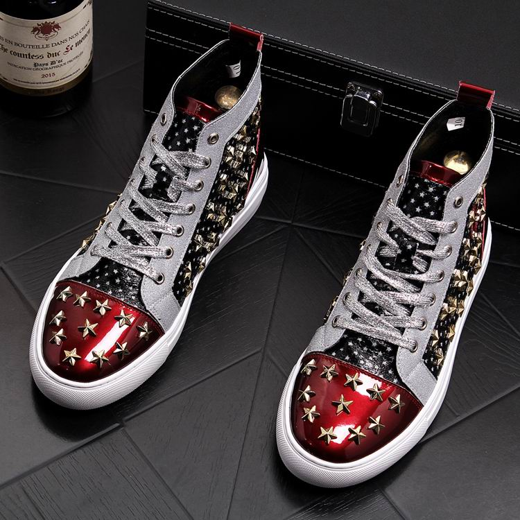 ERRFC Personalized Fashion Men High Top Casual Shoes Luxury Star Rivets Charm Mixed Colors Ankle Boots Man Trending Leisure Shoe 8 Online shopping Bangladesh
