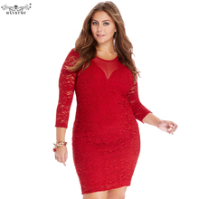 Brand New Plus Size Women Sexy Bodycon Lace Dress Vintage Vestidos De Festa Long Sleeve O-neck Summer Red Dress Female Clothing(China)