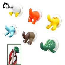 FHEAL 1pc Cartoon Animal Tail Rubber Sucker Hook Key Towel Hanger Holder Hooks Clothing Key Hanger Wall Kitchen Accessories