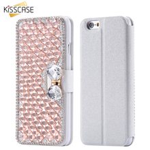 KISSCASE Stand Wallet Flip Leather Case For iPhone 7 Plus 6 6S Plus 5 5S Bling Diamond Rhinestone Phone Cover For iPhone 5 5S SE