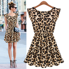 Casual Sexy Women Dress Leopard Print Sleeveless Ruffles Dresses Girl Sundress(China)
