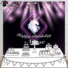 Allenjoy photography backdrop Purple Black Stars Unicorn Happy Birthday theme background photo studio camera fotografica