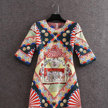 2015 New Summer Spring Dress Women's Runway Fashion Jacquard fan Printing Slim A-Line half sleeve Vintage Party Dresses OM025
