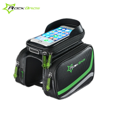 "Rockbros Double Pouch Bike Bags Folding MTB Bicycle Bags Pannier Basket 5.7"" Touchscreen Cycling Saddle Bag Bicycle Accessories(China)"